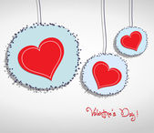 Valentine hang heart on wall — Stock Vector