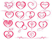Set of symbol hearts — Stock Vector