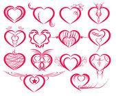 Set of symbol hearts — Vetor de Stock