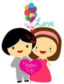 Happy valentine's couple sweet love — Stock Vector