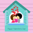 Be my valentines in house — Stock Vector