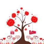 Valentines love tree — Stock Vector