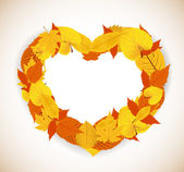 Autumn Leaves background with heart — Stock Vector