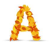 Vector autumn leaves font, letter A — Vector de stock