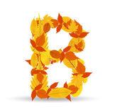 Vector autumn leaves font, letter B — Vector de stock