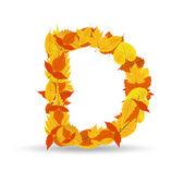 Vector autumn leaves font, letter D — Vector de stock
