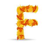 Vector autumn leaves font, letter F — Vector de stock