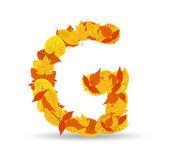 Vector autumn leaves font, letter G — Vector de stock