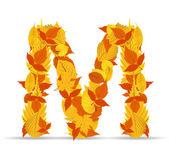 Vector autumn leaves font, letter M — Stock Vector