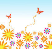 Flower and butterflies background — Vettoriale Stock
