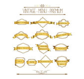Set of gold badges and labels — Vector de stock