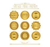 Set of gold badges and labels — Stockvektor