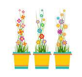 Spring Flowers In Pots — Stock Vector