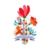Vintage tarzı sevimli çiçek buketleri — Stok Vektör