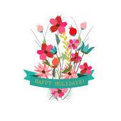 Schattig bloemen boeketten in vintage stijl — Stockvector