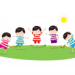 Little children doing morning exercises — Stock Vector #50182429