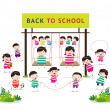 Back to school funny playing — Stock Vector #50182621