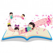 Happy Music Kids with book — Stock Vector #50183259