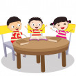 A Small Group of Kids Open Book and learning — Stock Vector #50183379