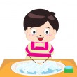 Little boy washing his hands — Stock Vector
