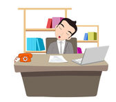 Businessman sleeping at work table over laptop — Stock Vector