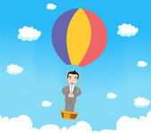 Business man with parachute — 图库矢量图片