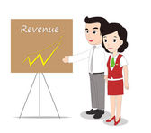 Successful Business Woman and Man Looking at revenue — Stock Vector
