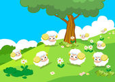 Farm animals with sheeps — Stock Vector