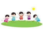 Little children doing morning exercises — Stock Vector