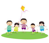Little children outdoors kites — Stock Vector