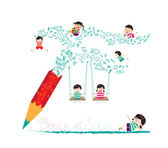 Back to school with pencil — Stock Vector