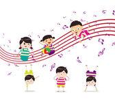 Kids enjoying playing music — Stock Vector
