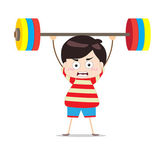 Kids weightlifting — Stock Vector