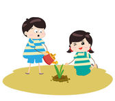 Two happy kids watering and planting plants — Vecteur