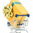 Shopping cart and gift box. — Stock Photo