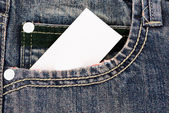 Jeans pocket with a credit card or calling card — Zdjęcie stockowe