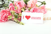 Pink carnations and mother's Day gift, greeting cards. — Zdjęcie stockowe