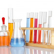 Laboratory glassware with reflections over white background - Wi — Stock Photo