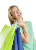 Glad kvinna carr — Stockfoto