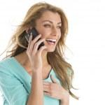 Beautiful Woman Laughing While Using Smart Phone — Stock Photo #29624909