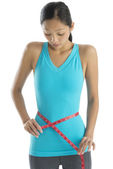 Shocked Woman In Sports Clothing Measuring Her Waist — Stock Photo
