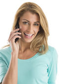 Portrait Of Happy Woman Using Smart Phone — Stock Photo