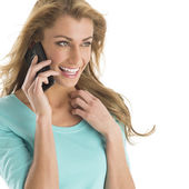 Cheerful Woman Communicating On Smart Phone — Stockfoto