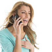 Beautiful Woman Laughing While Using Smart Phone — Stock Photo
