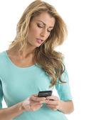 Beautiful Woman Text Messaging Through Smart Phone — Stock Photo