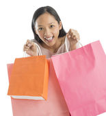 Portrait Of Excited Woman Carrying Shopping Bags — Stock Photo