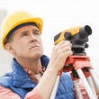 Cartographer With Theodolite At Construction Site — Stock Photo