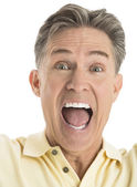 Portrait Of Excited Mature Man Screaming — Stock Photo