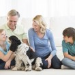Girl Playing With Dog While Family Looking At Her — Stock Photo