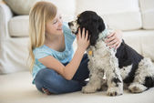 Girl Playing With Pet Dog In Living Room — Stock Photo